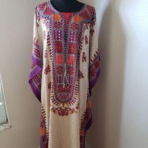 New/NWT Creme/Purple Abaya Kaftan Cover-up Dress